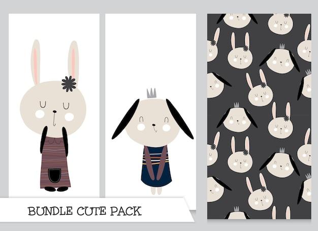 컬렉션 귀여운 만화 플랫 토끼 패턴 세트