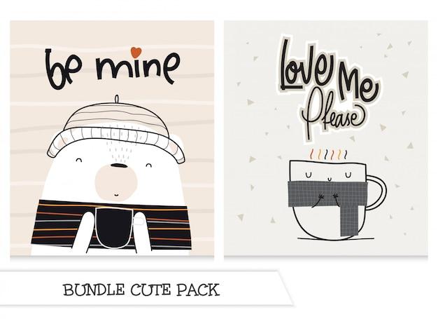 Коллекция милый мультфильм плоский кофе и медведь с буквами