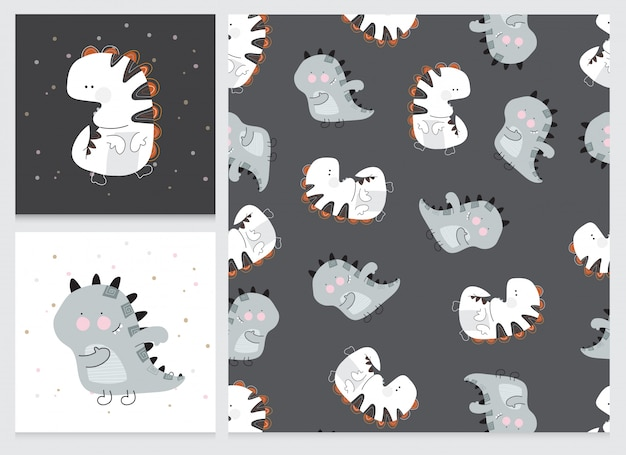 Collection cute cartoon flat dino pattern set