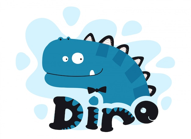 Collection cute cartoon flat dino with lettering