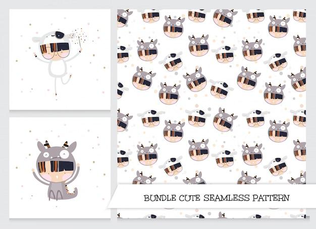 컬렉션 귀여운 만화 플랫 소녀 동물 사용자 정의 패턴 세트