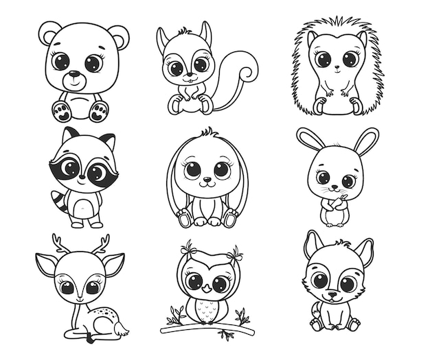 A collection of cute cartoon forest animals. black and white vector illustration for a coloring book. contour drawing.