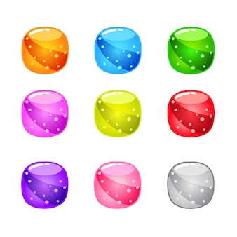 Collection cute cartoon glossy round with jelly in different colors.