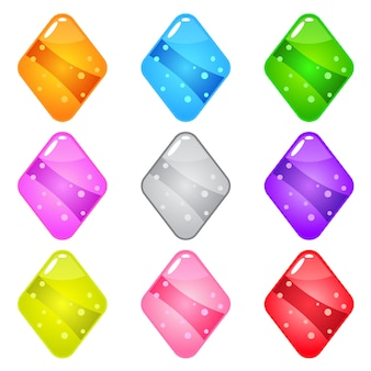 Collection cute cartoon glossy shape diamond with jelly in different colors.