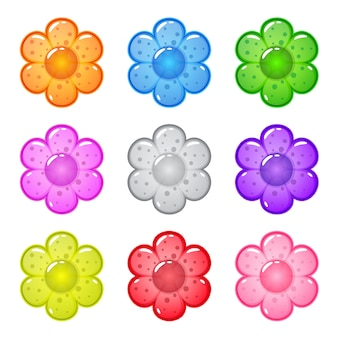 Collection cute cartoon glossy shape flowers with jelly in different colors.