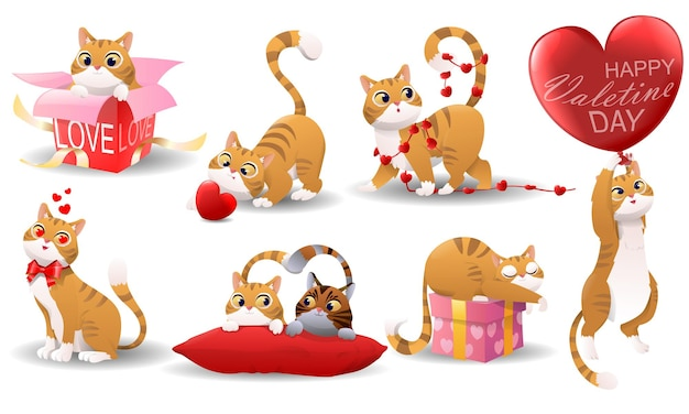Collection of cute cartoon kittens illustration