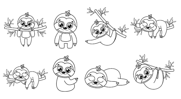 A collection of cute cartoon sloths. black and white vector illustration for a coloring book. contour drawing.