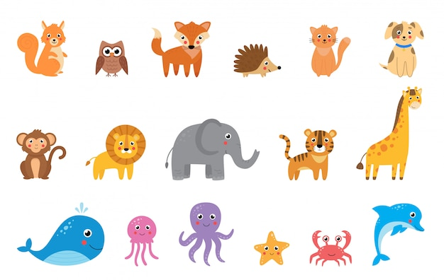 Collection of cute cartoon vector animals