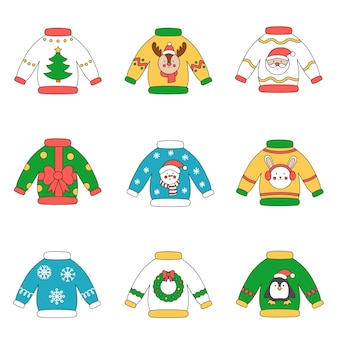 Collection of cute cartoon vector christmas sweaters.