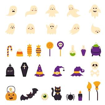 Collection of cute cartoon vector halloween elements.