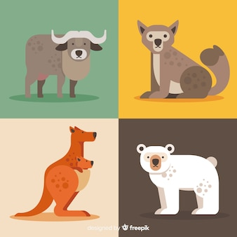 Collection of cute cartoon wild animals