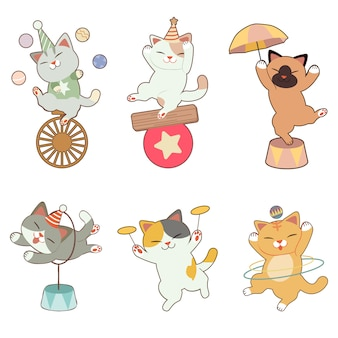 The collection of cute cat in the circus theme