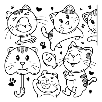 Collection of cute cat doodle character illustration