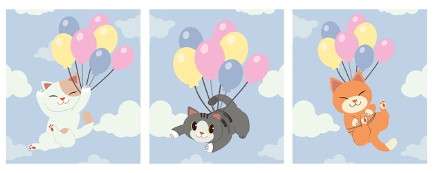 The collection of cute cat holding a rainbow balloon on the sky with a cloud.