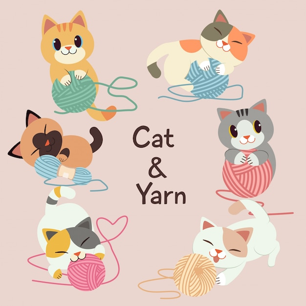 The collection of cute cat play with a yarn on the pink background.