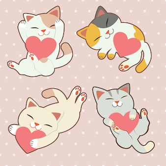 The collection of cute cat set with hearts.