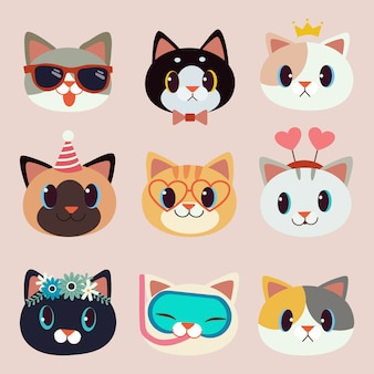 Collection of cute cat with accessories on the pink background.