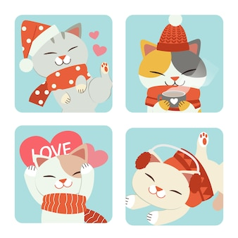 The collection of cute cat with christmas theme set in blue frame.