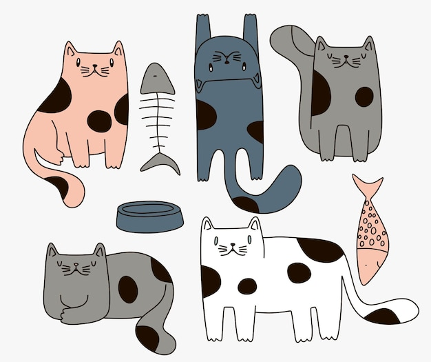 Collection cute cat with doodle cartoon style