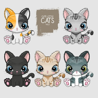 Collection of cute cats illustration