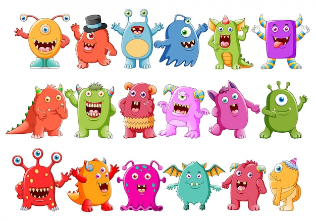 Collection of cute character monsters