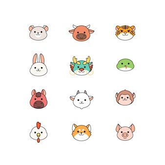 Collection of cute chinese zodiac, kawaii character for  cartoon icon