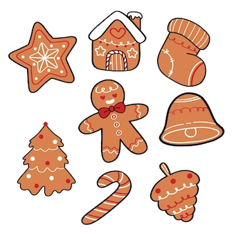 Collection of cute christmas gingerbread cookies hand drawn cartoon star sock ginger man