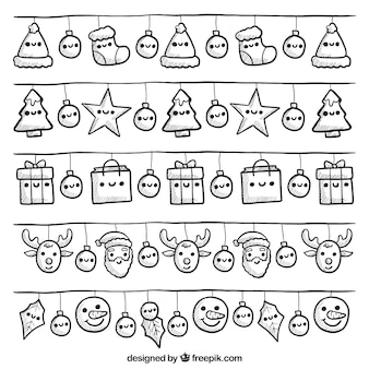 Collection of cute christmas lights with smiling faces