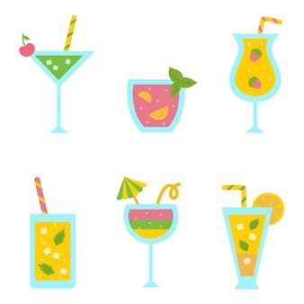 Collection of cute and colorful cocktails for summer party.