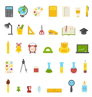 Collection of cute colorful kawaii school supplies.