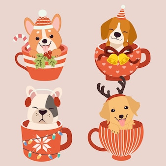 Collection of cute dog sitting in a mug cup
