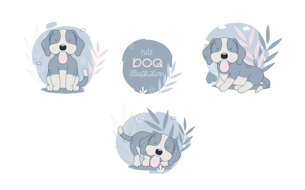 Collection of cute dogs cartoon animals. vector illustration.