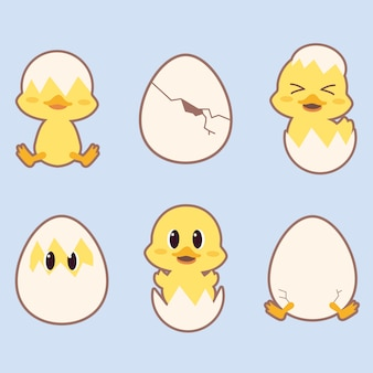 The collection of cute duck in many action with eggs on the blue background. the character of cute duck playing with the egg.