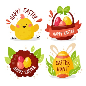 Collection of cute easter day badges