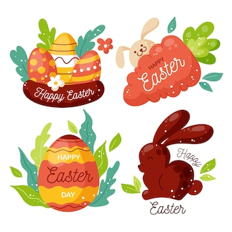 Collection of cute easter day labels