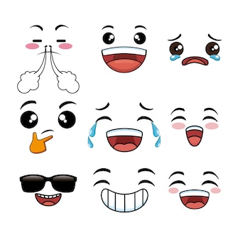 Collection of cute emoji cartoon face
