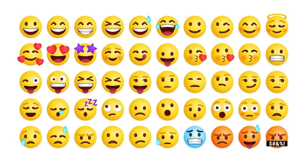 Collection of cute emoticons reaction for social media, set of mixed feeling