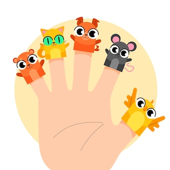 Collection of cute finger puppets for children