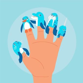 Collezione di simpatici burattini da dito per bambini