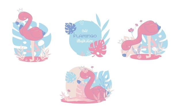 Collection of cute flamingos cartoon animals. vector illustration.