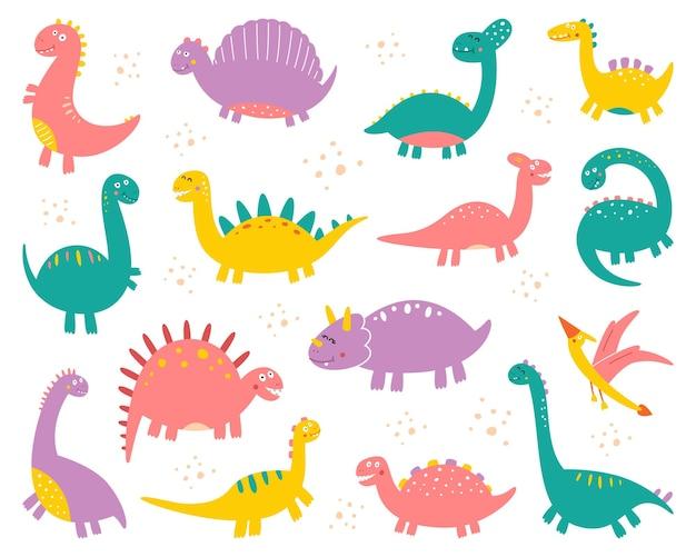 Collection of cute flat dinosaurs, including t-rex, stegosaurus, velociraptor, pterodactyl, brachiosaurus and triceratop