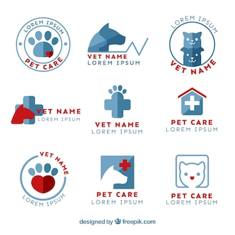 Collection of cute flat vet logotype