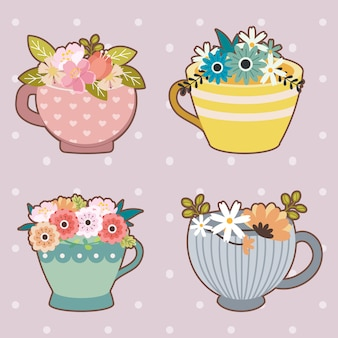The collection of cute flower in the cup