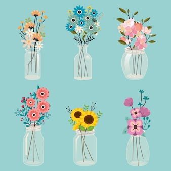 The collection of cute flower in the transparent jar
