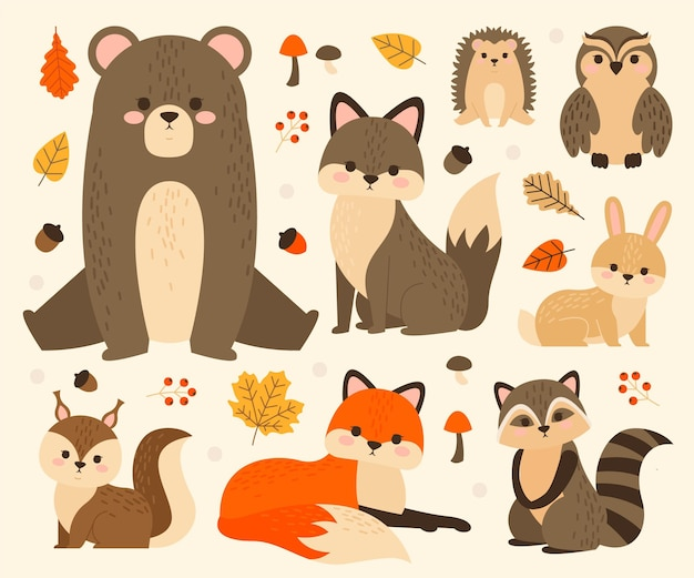 Collection of cute forest animals