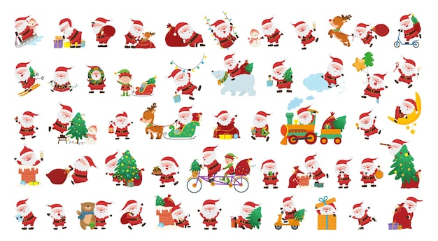 Collection of cute funny illustrations with santa claus