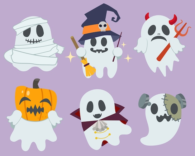 The collection of cute ghost with hollween costume in flat vector style.