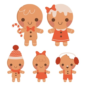 The collection of cute gingerbread family in flat vector style.