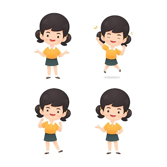 Collection of cute girl character in many expression pose
