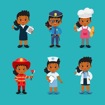 Collection of cute girl in different profession labor day clip art flat vector cartoon design
